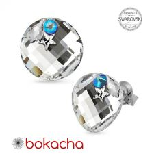 Обеци STAR декорирани с кристали SWAROVSKI® TWIST 18мм, CAL V SI - Бял цвят, Код PR E649