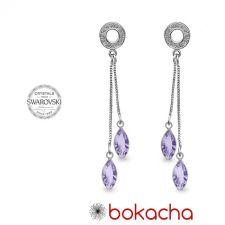 Обеци декорирани със SWAROVSKI® AMIKOS MARQUISE 10мм, Lavender- Лилав цвят, Код PR E639