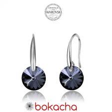 Обеци с кристали Swarovski® RIVOLI 8мм Silver Night** AB - Черен, Код PR E375