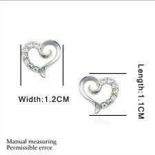 Обeци СЪРЦЕ с 18К бяло злато и кристали, Zerga Brand, Код ZG E561