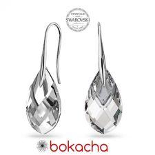Обеци с кристали Swarovski® MET CAP PEAR, 18мм Crystal, Бял цвят, Код PR E667