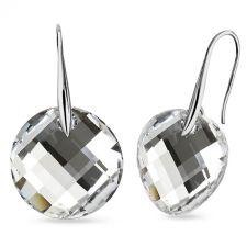 Обеци с кристали Swarovski® TWIST 18мм CAL V SI - Бял цвят, Код PR E647