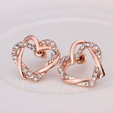 Колие и обеци ВПЛЕТЕНИ СЪРЦА, Zerga Jewelry - розово златно покритие 18KG S39704
