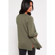 Дамска памучна жилетка ONLYс дълъг ръкав, цвят войнишко зелен, Размер XS-S, Код BL0113