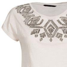 Уникална блуза ONLY с красиви мотиви с мъниста в цвят беж, Размер M,  Код BL438