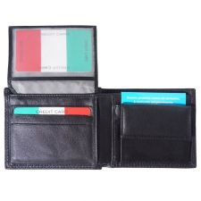 Портфейл Естествена Кожа БУВЕ, FLORENCE, черен цвят, Код FL PF019B2