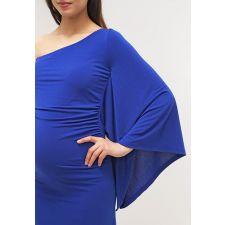 Асиметрична рокля POMKIN с голо рамо в синьо, подходяща за бременни, Размер L-XL, Код DD0107