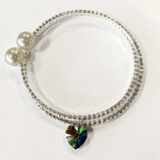 Гривна LINE SWAROVSKI® HEART Vitrail Medium** VM, Зелен цвят, 10 мм, Код PR B434