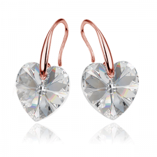 Обеци SWAROVSKI® GOLD HEART Crystal 10 мм, Бял цвят Код PR E433