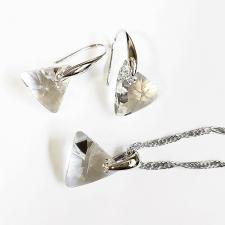 Бижута с кристали Swarovski® TRIANGLE Crystal**, Бял, Колие, Обеци и Гривна 12мм, Код PR S353-A-3