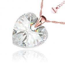 Колие SWAROVSKI® GOLD HEART Crystal 14 мм, Бял цвят, Код PR N433