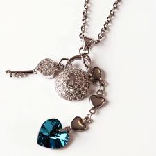 Колие с кристали Swarovski® HEART SECRET Bermuda Blue BBL 10 мм, Син цвят, Код PR N436