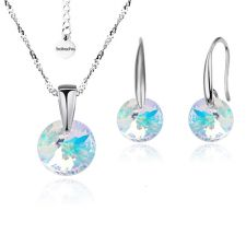 Бижута с кристали Swarovski® RIVOLI Crystal Aurore Boreale** AB, Бял, Колие и обеци 8мм,  Код PR S370A
