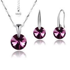 Бижута с кристали Swarovski® RIVOLI Ametyst АВ**, Лилав, Колие и обеци 8мм,  Код PR S371