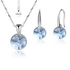 Бижута с кристали Swarovski® RIVOLI Denim Blue - Син, Колие и обеци 8мм, Код PR S376