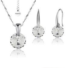 FINAL SALE! Бижута с кристали Swarovski® RIVOLI Crystal, Бял, Колие и обеци 8мм,  Код PR S370