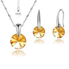 Бижута с кристали Swarovski® RIVOLI Golden Shadow**, Натурален, Колие и обеци 8мм, Код PR S378