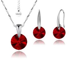 Бижута с кристали Swarovski® RIVOLI Light Siam АВ - Червен, Колие и обеци 8мм,  Код PR S372