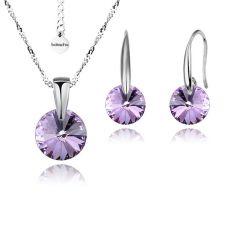 FINAL SALE! Бижута с кристали Swarovski® RIVOLI Violet AB - Светло лилав, Колие и обеци 8мм, Код PR S380