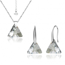Бижута SWAROVSKI® TRIANGLE, Колие и обеци Crystal**, Бял, 12мм, Код PR S353-A
