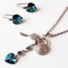 Бижута с кристали Swarovski® HEART SECRET Bermuda Blue BBL, Син, Колие и обеци 10 мм,  Код PR S436