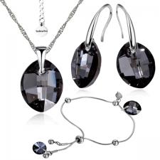 Бижута с кристали Swarovski® LEAF Колие, Обеци и Гривна, 14мм, Silver Night** AB - Черен, Код PR S451-3