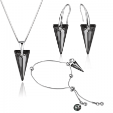 Бижута с кристали Swarovski® SPIKE Колие, Обеци и Гривна, 18мм, Silver Night** AB - Черен, Код PR S452B-3