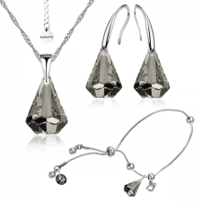 Бижута с кристали Swarovski® RAINDROP Колие, Обеци и Гривна, 14мм, Satin**, Прозрачно черен, Код PR S453B-3