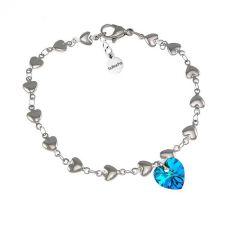 Гривна с кристали Swarovski® HEART Bermuda Blue BBL, Син, 10 мм, Код PR B006