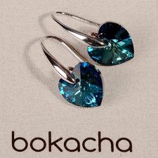 Обеци SWAROVSKI® HEART Bermuda Blue BBL 10 мм, Син цвят, Код PR E002B