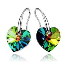 Обеци SWAROVSKI® HEART Vitrail Medium** VM 10 мм, Зелен цвят, Код PR E004B