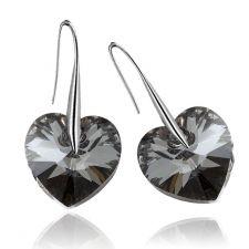 Обеци с кристали Swarovski® BIG HEART Silver Night** AB - Черен 14 мм, Код PR E008B