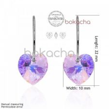 Бижута SWAROVSKI® HEART Violet AB - Светло лилав, Колие,обеци и гривна (14, 10, 10 мм),  Код PR S011A