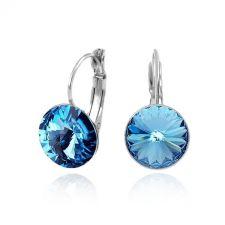 Обеци с кристали Swarovski® RIVOLI 12мм Aquamarine AB - Светло син, Код PR E020