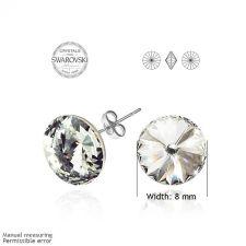 Обеци на винт SWAROVSKI® RIVOLI 8мм Crystal, Бял, Код ZG E021A