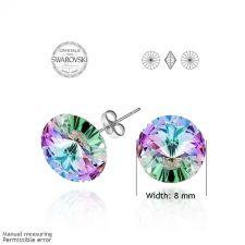 Бижута с кристали Swarovski® RIVOLI Vitrail Light** VL- Лилаво-зелен, Колие с обеци на винт (12мм и 8мм),  Код PR S023A