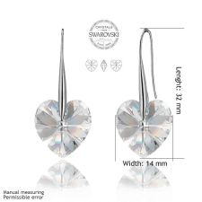 Обеци с кристали Swarovski® BIG HEART Crystal AB 14 мм, Бял, Код PR E031B