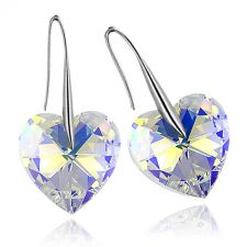 Обеци с кристали Swarovski® BIG HEART Crystal AB 14 мм, Бял, Код PR E031B