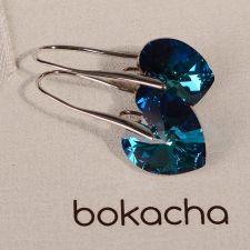 Обеци SWAROVSKI® BIG HEART Bermuda Blue BBL 14 мм, Син, Код PR E032B