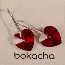 Обеци SWAROVSKI® BIG HEART Light Siam АВ 14 мм, Червен цвят, Код PR E035B