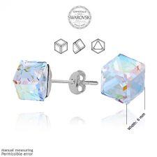 Обеци с кристали Swarovski® CUBE 6мм Crystal, Бял цвят, Код PR E041