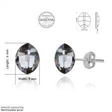 Обеци с кристали Swarovski® LEAF 10мм Silver Night** AB - Черен, Код PR E050