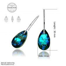 Обеци с кристали SwarovskiI® PEAR DROP 16мм Bermuda Blue BBL, Син, Код PR E102