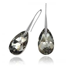 Обеци SWAROVSKI® PEAR DROP 16мм  Silver Night** AB - Черен, Код PR E108A
