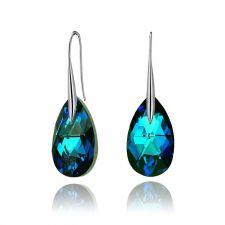 Обеци с кристали Swarovski® BIG PEAR DROP 22мм Bermuda Blue BBL, Син, Код PR E112