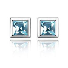 Обеци с кристали Swarovski® BLUE MOOD 5мм Aquamarine AB - Светло син, Код PR E207