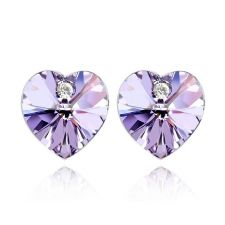Обеци с кристали Swarovski® VALENTINE HEART 10 мм, Violet AB - Светло лилав, Код PR E210