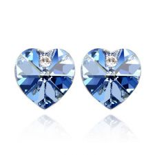 Обеци SWAROVSKI® VALENTINE HEART 10 мм, Light Sapphire, Син, Код PR E211