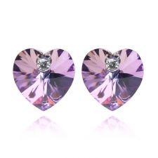 Обеци с кристали Swarovski® VALENTINE HEART 10 мм, Vitrail Light** VL, Лилаво-зелен, Код PR E212