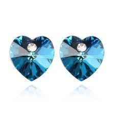 Обеци с кристали Swarovski® VALENTINE HEART 10 мм, Bermuda Blue BBL, Син, Код PR E213